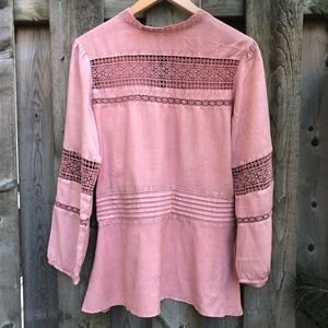 Anthro Luna Moon Pink Peplum Lace blouse
